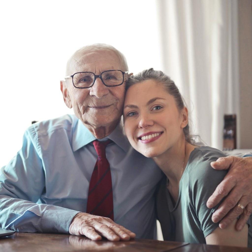 elderly gentleman with grandaughter